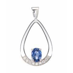 Pendentif Or Blanc Saphir Ovale 7x5mm et Diamant