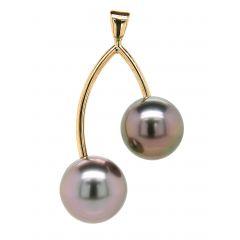 Pendentif Or Jaune 2 Perles de Tahiti