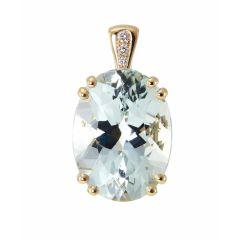Pendentif Or Jaune 750 Aigue Marine Ovale 16x12mm et Diamant