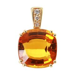 Pendentif Or Jaune 750 Citrine coussin 15x15mm et Diamants