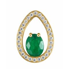 Pendentif Or Jaune 750 émeraude ovale 8x6mm et diamants