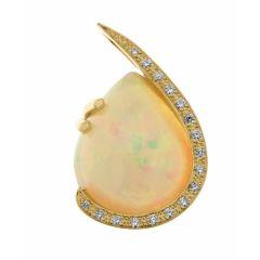 Pendentif Or Jaune 750 Opale Poire 16x13mm et Diamant