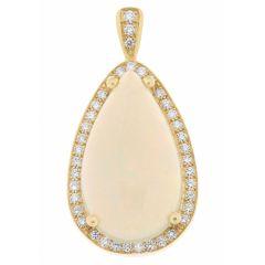 Pendentif Or Jaune 750 Opale Poire et Diamant