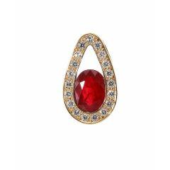 Pendentif Or Jaune 750 Rubis  Ovale 8x6mm et Diamant