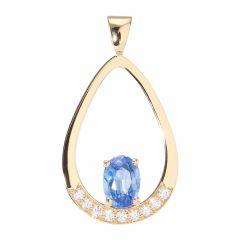Pendentif Or Jaune 750 Saphir Ovale 7x5mm et Diamant