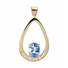 Pendentif Or Jaune 750 Saphir Ovale 8x6mm et Diamant