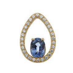 Pendentif Or Jaune 750 Saphir Ovale et Diamant
