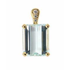 Pendentif Or Jaune Aigue Marine Rectangulaire et Diamant