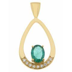 Pendentif Or Jaune émeraude Ovale 8x6mm et Diamant