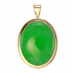 Pendentif Or Jaune Jade ovale 16 x 12mm