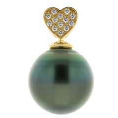 Pendentif Perle de Tahiti 16mm et Diamants