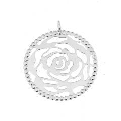 Pendentif Rose en Argent 925 rhodié Diam. 40mm