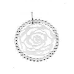 Pendentif Rose en Argent 925 rhodié
