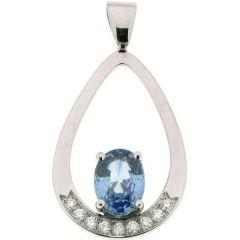 Pendentif Saphir Ovale 8x6mm et Diamant Or Blanc