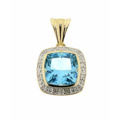 Pendentif Topaze bleue traitée Coussin 8mm et Diamant Or Jaune 375