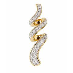 Pendentif Torsade Or Jaune 750 et Diamant