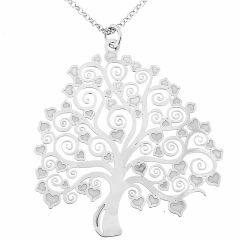 Sautoir en argent rhodié motif arbre de vie ciselé