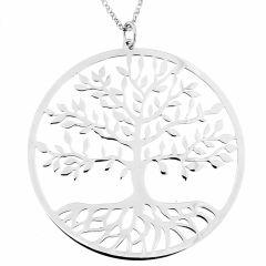 Sautoir en argent rhodié motif arbre de vie