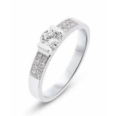 Solitaire en Or Blanc et Diamant