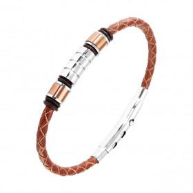 Bracelet homme femme en acier inoxydable et cuir noir 23//21//19 cm
