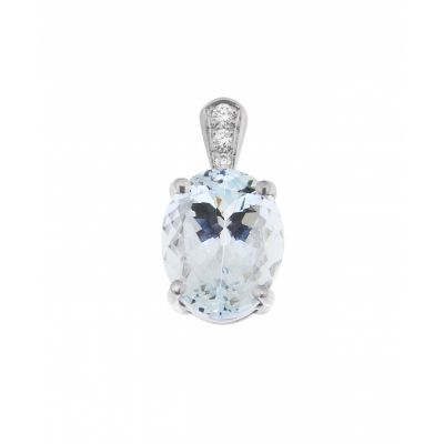 Pendentif Or Blanc Aigue Marine Ovale 10x8mm et Diamants
