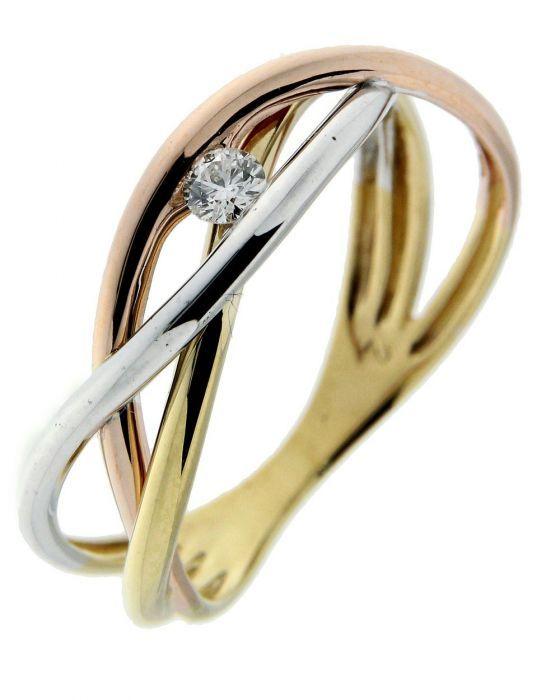 Bien connu Bague 3 Ors 750 entrelacés et Diamant Ref. 39248 VA29