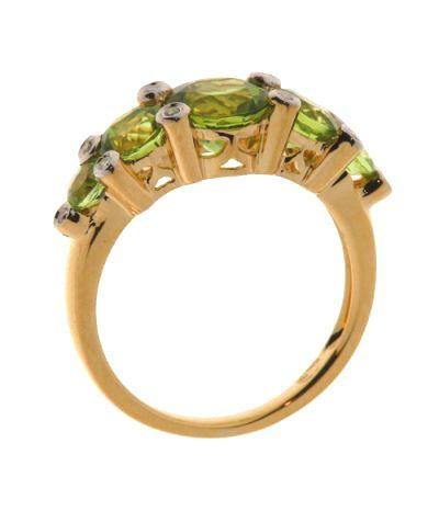 Bague 5 p ridots ronds et diamant or jaune ref 20374 - Bijoux 3 fois sans frais ...