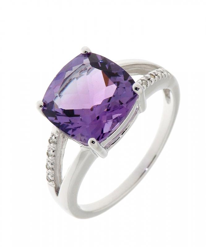 Assez Bague Améthyste Coussin 10mm et Diamant Or Blanc 375 Ref. 34799 JB98