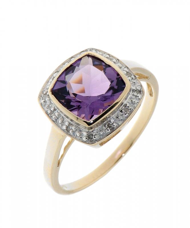 Bien-aimé Bague Améthyste Coussin 8mm et Diamant Or Jaune 375 Ref. 34790 SW98