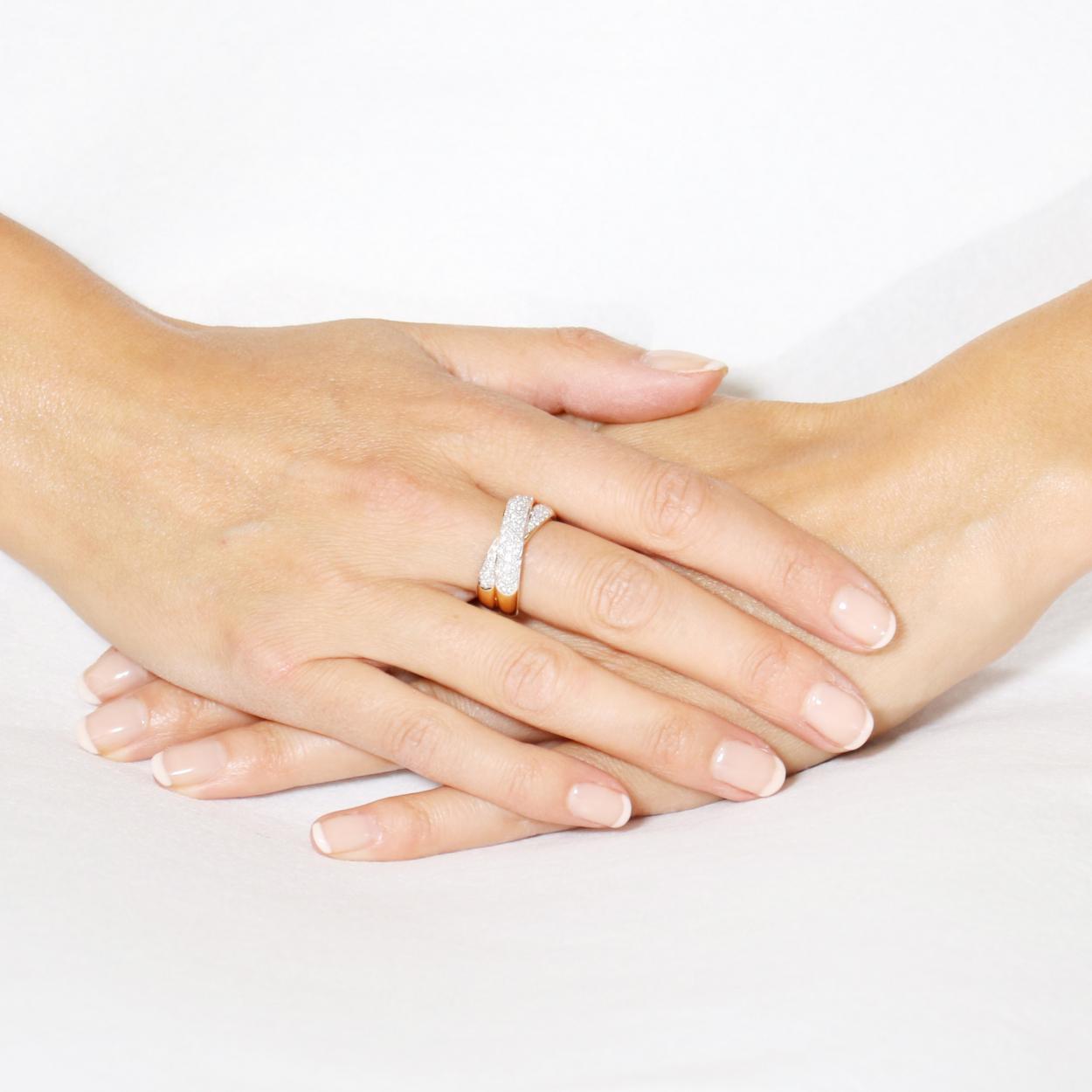 Extrêmement Bague Anneaux Entrelacés Or Jaune 750 Diamant 0.75 carat Ref. 39773 EK54