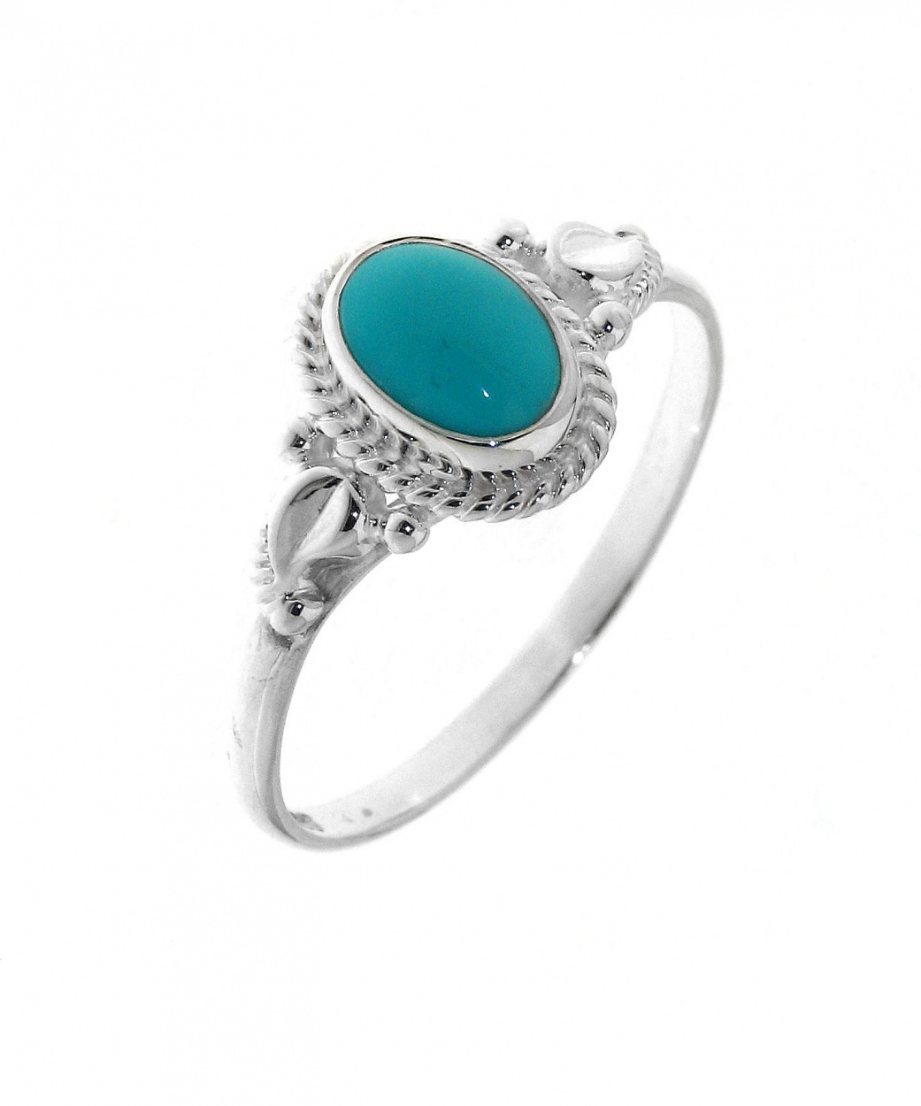 Haut Bague Argent 925 Turquoise ovale 7x5mm Ref. 32073 NA19
