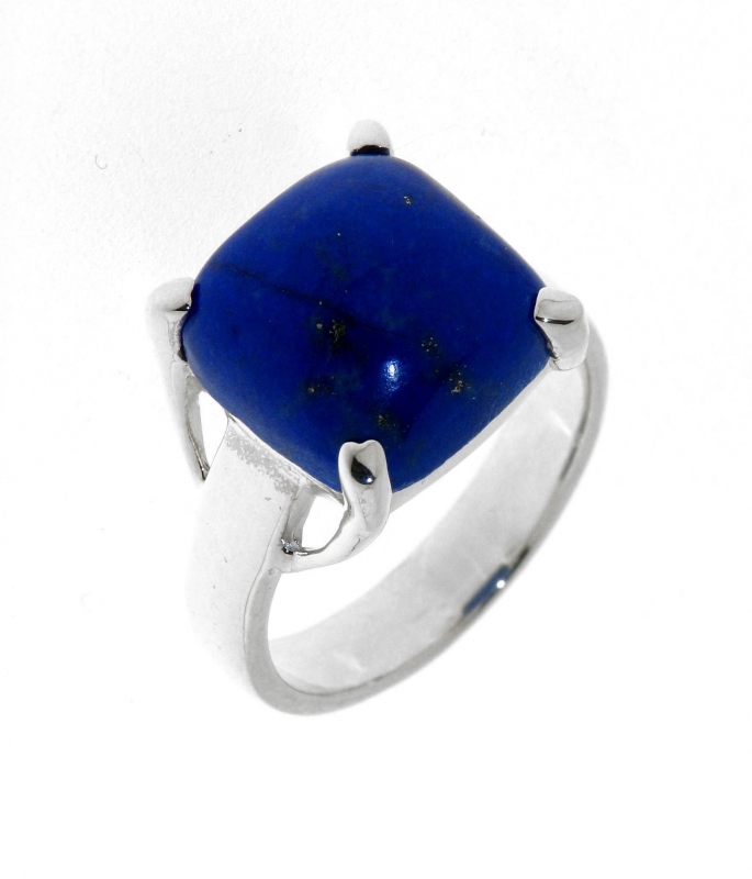 bague argent lapis lazuli coussin 12mm ref 27826. Black Bedroom Furniture Sets. Home Design Ideas