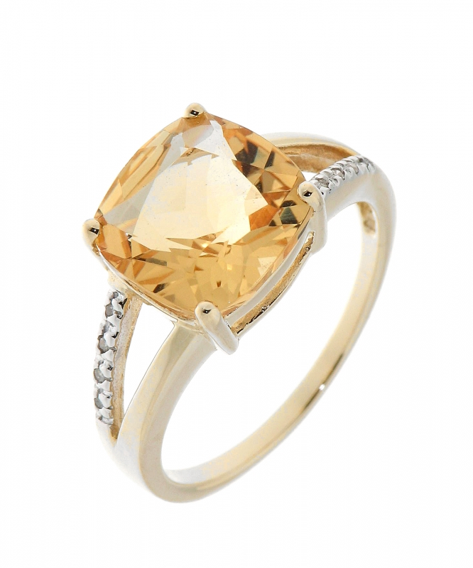 Populaire Bague Citrine Coussin 10mm et Diamant Or Jaune 375 Ref. 34796 RR87