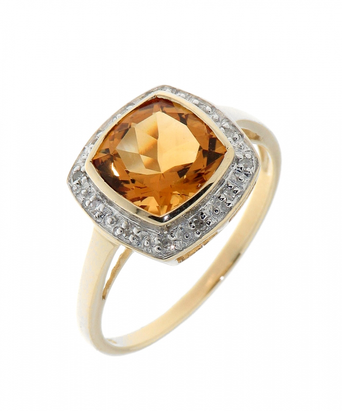 bague diamant coussin jaune