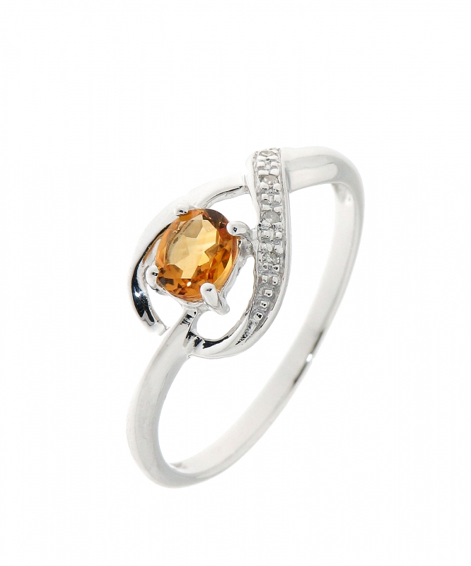 Fabuleux Bague Citrine Ovale 5x4mm et Diamant en Or Blanc 375 Ref. 34834 &JO_16