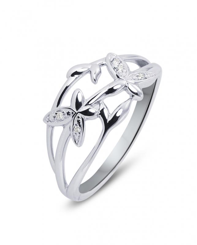 bague diamant fleur or blanc
