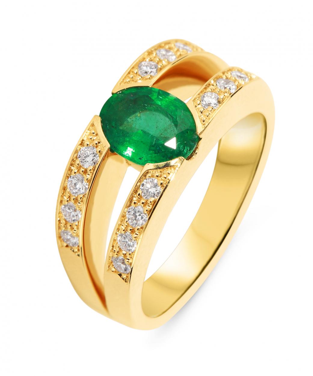 Préférence Bague Emeraude Ovale 8x6mm et Diamant Ref. 33365 WG81