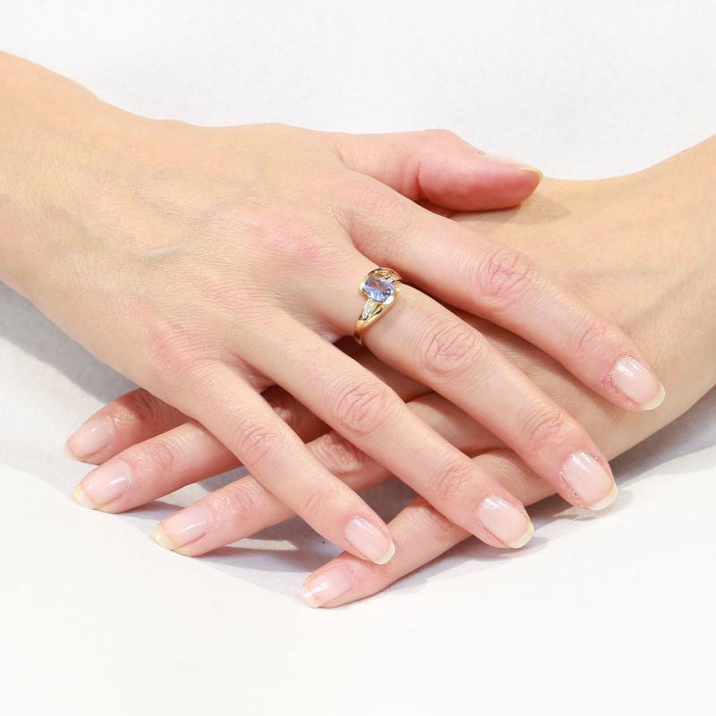 Bague En Or Jaune Saphir 1 28ct Et Diamant 0 07ct Ref