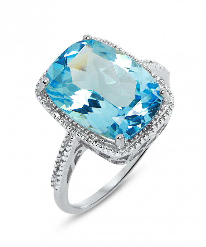 bague or blanc diamant topaze