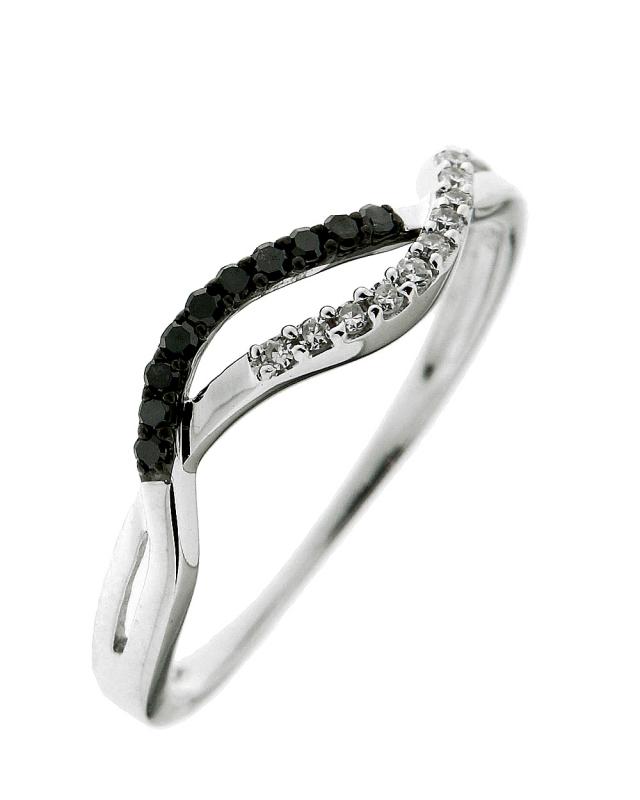 bague or 750 blanc diamant noir et diamant blanc