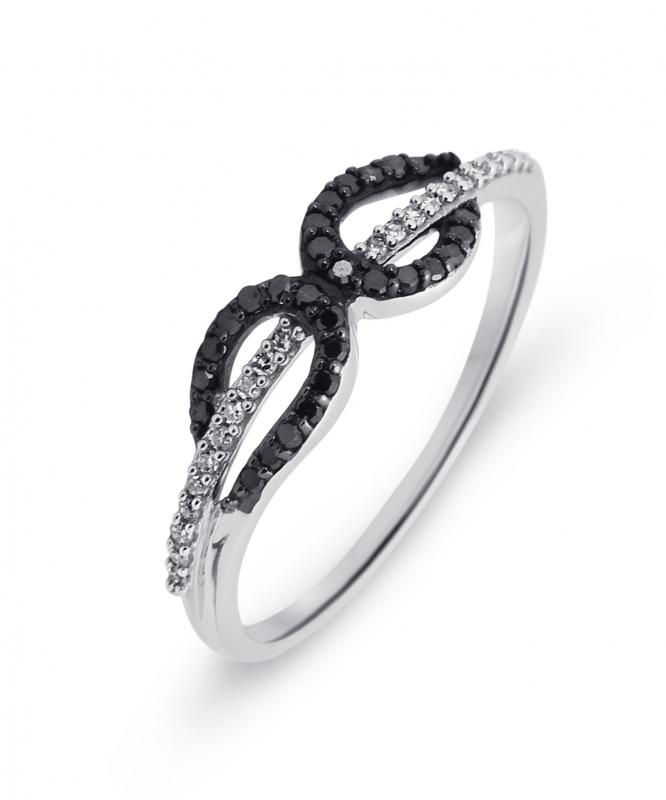 98bd03ad2c6 Bague Or Blanc 750 Diamant Blanc   Noir 0.16 carat Ref. 39506