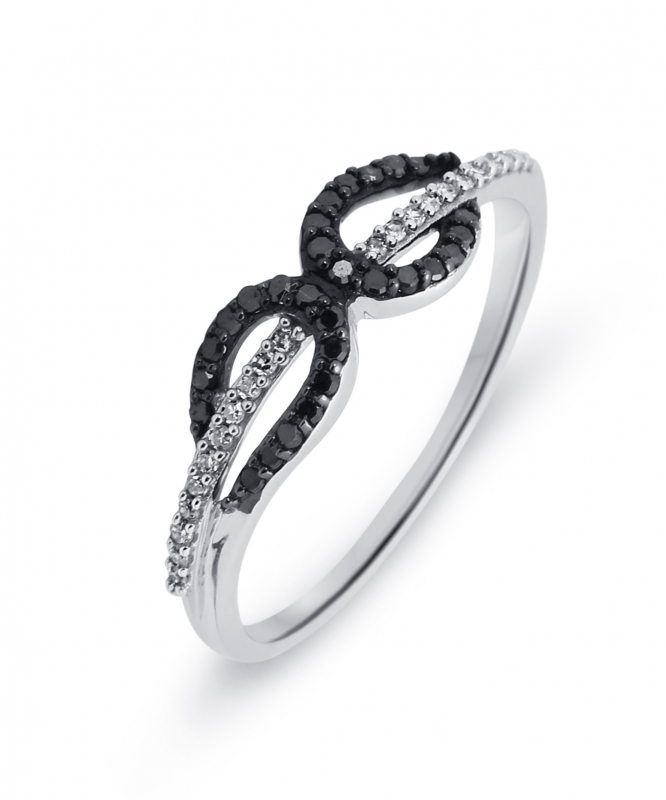 grande vente eb740 0f642 Bague Or Blanc 750 Diamant Blanc & Noir 0.16 carat Ref. 39506 | Bijouterie  Trabbia Vuillermoz