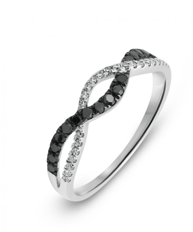 d7f45805cd4 Bague Or Blanc 750 Diamant Blanc   Noir 0.27 carat Ref. 39517