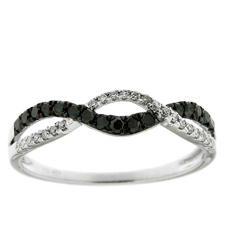 Exceptionnel Bague Or Blanc 750 Diamant Blanc & Noir 0.27 carat Ref. 39517 LT93
