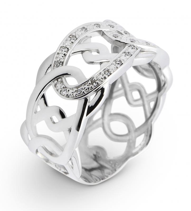 7e9c0550fe3ab Bague Or Blanc 750 Diamant Motifs entrelacés Ref. 39263