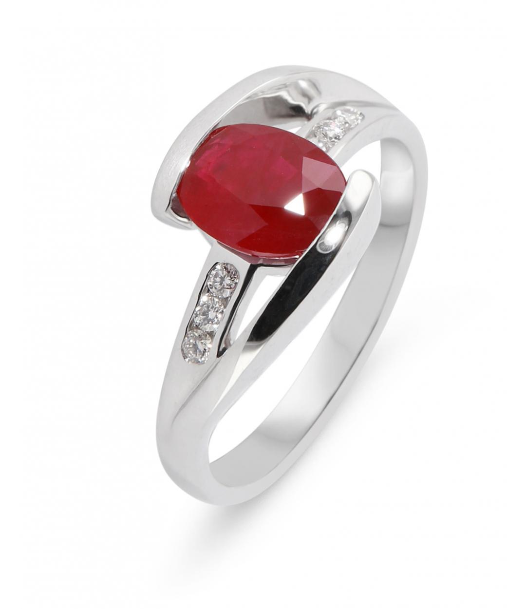design intemporel 9ca20 0852e Bague Or Blanc 750 Rubis Ovale 8x6mm et Diamant Ref. 43156 | Bijouterie  Trabbia Vuillermoz