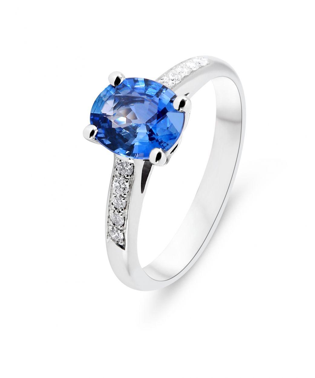 Bien-aimé Bague Or Blanc 750 Saphir Ceylan Ovale 8x6mm et Diamant Ref. 43629 DX15