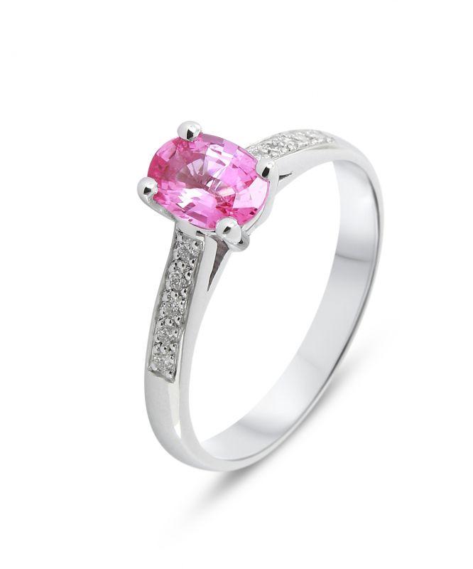 bague or blanc diamant et saphir rose