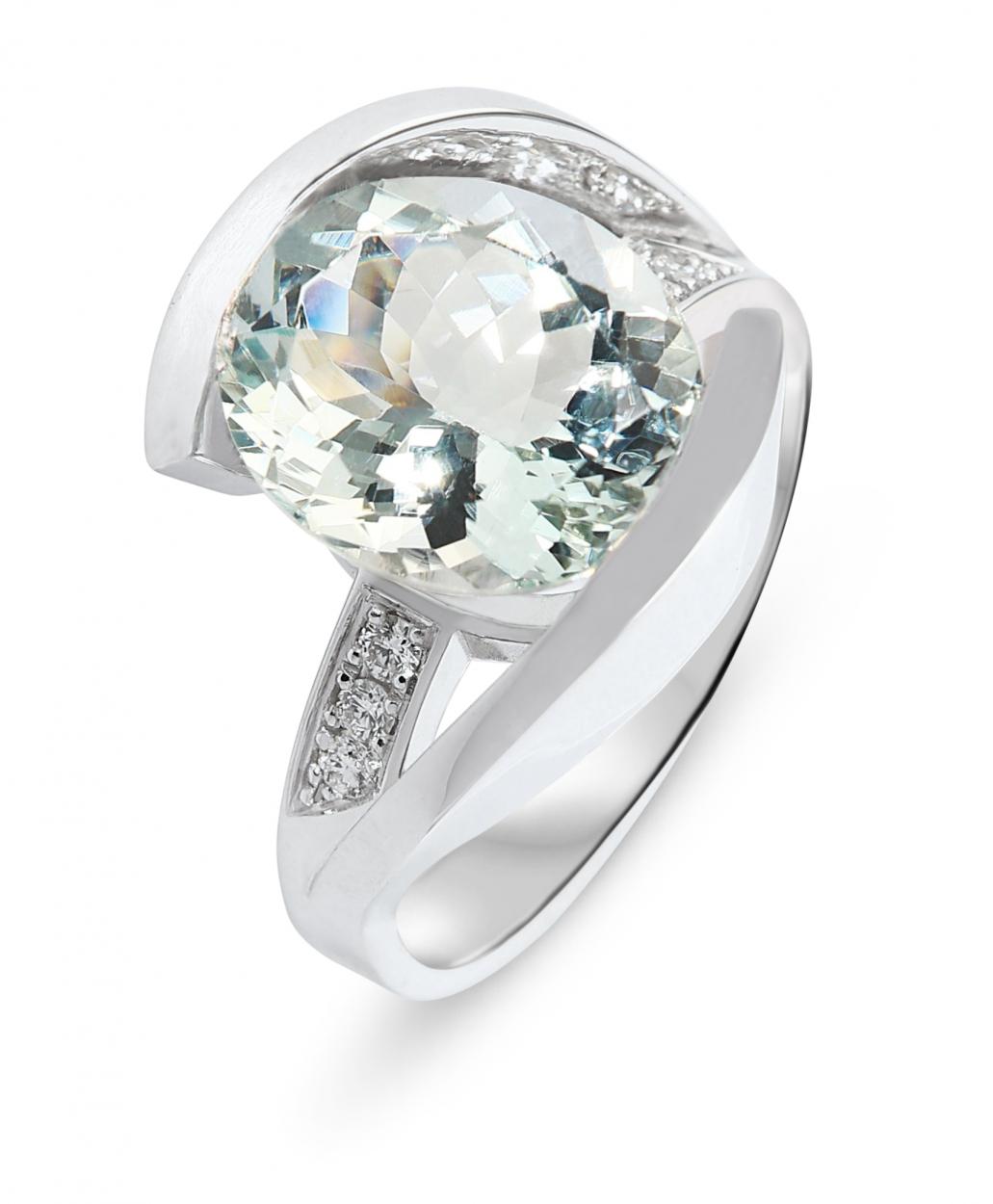 bague or blanc aigue marine 12x8mm et diamants ref 31033. Black Bedroom Furniture Sets. Home Design Ideas