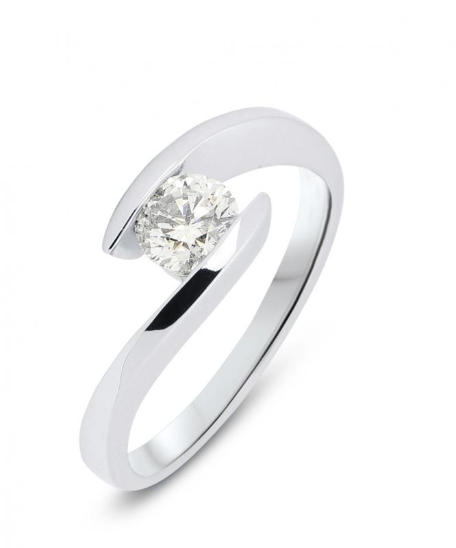 Bague Or Blanc Diamant Corps Croise Ref 28659